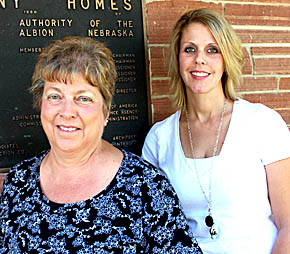 Gayle Olsen, l., with Tracy Lipker, the new executive director at Harmony Homes.