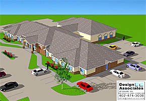 Concept drawing of the planned Cardinal Inn motel by Design Associates, Inc. of Lincoln.