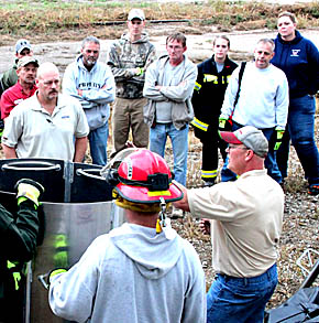 Grain bin rescue training for fire department.