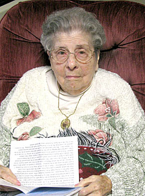 Phebe Randles reads cards and letters from well-wishers.