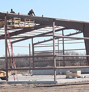 Framework for new building.