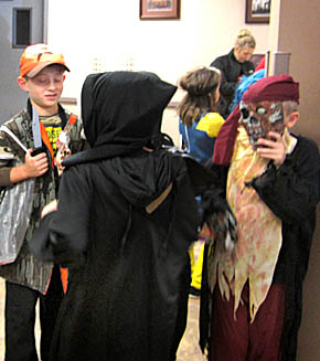 Children gather at the Fire Hall in Petersburg for Halloween Parade.