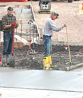 A portion of the concrete pool floor was being poured Monday, Dec. 2.