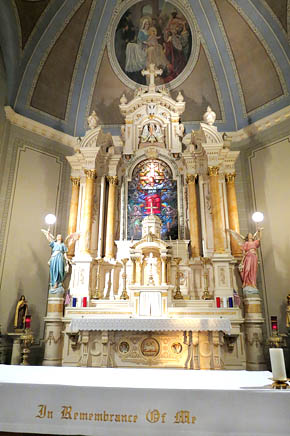 Newly restored altar and statuary at St. Bonaventure Church.