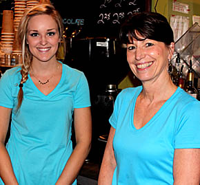 Haley Henn, l., and Tammy Nolan at the Brewed Bean.
