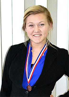 Sophomore Dana Grape with her state speech medal.