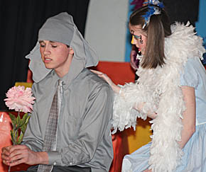 """Horton the Elephant (Spencer Noble) is consoled by Gertrude McFuzz (Megan Frerichs) in this scene from """"Seussical."""""""