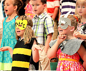 First graders perform at elementary spring program.