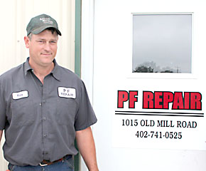 Roy Pribnow at his Albion business, PF repair.