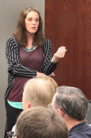 Tina Stokes, coordinator of the Boone County Philanthropy Council, speaks to representatives of county organizations Monday night.