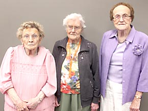 Oldest grads attending the 2014 Albion/Boone Central Alumni Banquet were, l. to r., Agnes Kuntzelman Nygren, Myrna Townsend Noble and Phyllis Knott Michel.