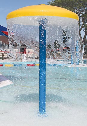 One of the many water features at the Albion Aquatic Center.