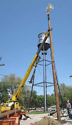 New siren being raised into place at Petersburg.