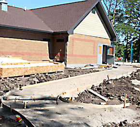 Forms were in place June 2 for sidewalk that will lead to the bathhouse of the Albion Family Aquatic Center.
