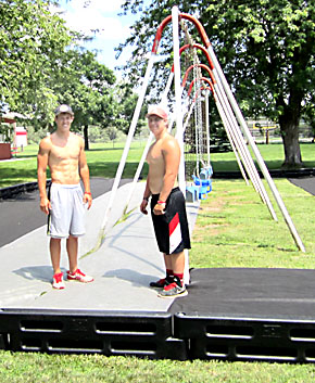 Pierce Koch and Colton Pelster at work on park improvements.