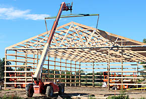 Framework in place for new building at Cedar Valley Lumber Co.