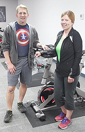Manager Mike McDermott and Assistant Manager Melinda Johnson at the Boone County Fitness Center.