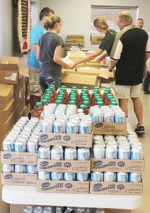 Preparations for mobile food pantry in Albion.