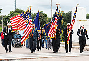 Veterans Color Guard leads the Boone County Freedom Walk.