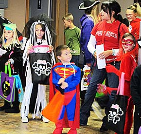 Children gather for Halloween event at Petersburg Fire Hall.