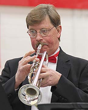 Nebraska Brass member Brad Obbink performs during the concert in Albion.