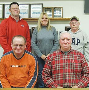 VILLAGE BOARD -- Corey Stokes, Tina Henn and Steve Werner (back, l.-r.) started new terms on the Petersburg Village Board. Retiring board members are (front) Pat Seier, who served 12 years, and Tony Thieman, who served 20 years.