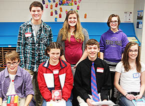 Seven students earning top places in the oral round of the Boone County Spelling Contest were (front, l.-r.) Scott Wright, Emma Ketelsen, Jett Stuhr and Kelsie Hupp; (back) Trey Zoucha, McKenna Book and Maya Baker.
