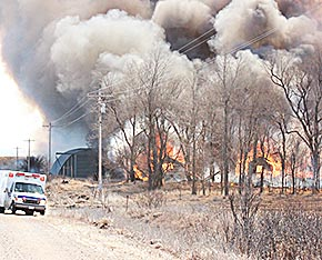 Structure fires on a farmstead north of Boone, NE.