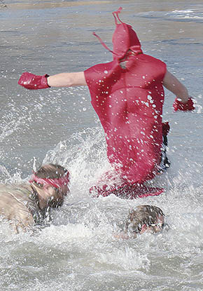 Costumed participants in the Polar Bear Dip.