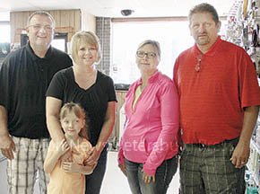 Operating the Shell Creek Market, LLC, effective July 1 will be (l.-r.) Tom and Staci Temme with their daughter, Jadyn, and Radene and Larry Temme.
