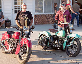WINNING BIKES -- Antique motorcycles displayed by Joe Meis, left, and Tom Pelster, right, earned awards at Cruise Night.