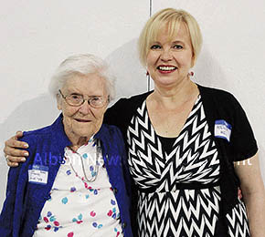Honored at the Albion/BC Alumni Banquet were Myrna Noble, left, and Hellivi Kojo of Finland.