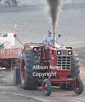 Walt Hoefer of Albion competes in the tractor pull.