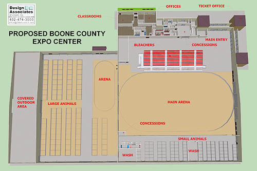 Floor plan of the proposed Ag/Expo building.