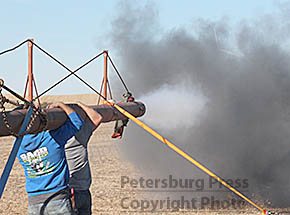 Air cannon firing at Petersburg Punkin' Chunkin'.