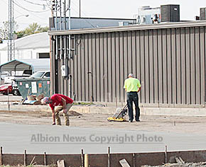 Concrete work underway at Casey's store in Albion.