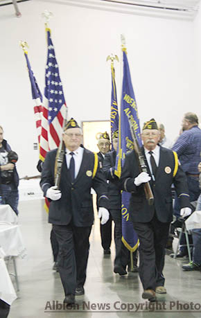 Local veterans provide the Color Guard for the annual Veterans Day program.