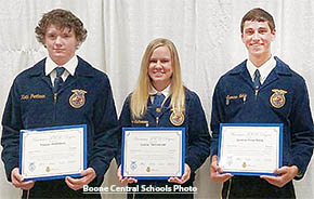 American FFA Degree recipients (l.-r.) Tanner Prothman, Jessica Tisthammer and Spencer Noble.