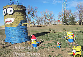 Minions are among the Christmas decorations in Petersburg.
