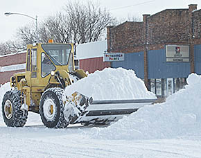 Snow removal in downtown Petersburg.