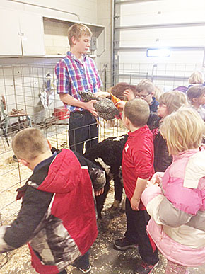 Elementary students visit the Boone Central FFA petting zoo.