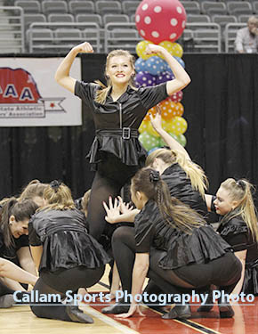 Boone Central Rubies strike a closing pose after their winning routine at state.