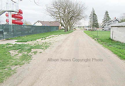 Full width of South Street will now be paved past the Albion Family Aquatic Center.