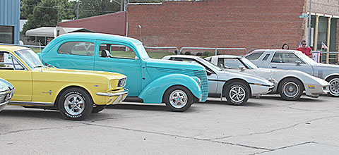 Some of the cars on display during Cruise Night.