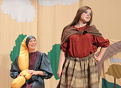 Rapunzel (Maggie Cleveland) tries to reason with Madame Gothel (Abby Mousel).