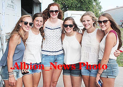 These six girls from the Clearwater and Orchard area, l-r, R: Allison Kerkman, Katie Stearns, Alexis Pokorny, Julia Thiele, Mallory Cooper and Peyton Clifton, arrived 3 1/2 hours early and were first in line for the concert.