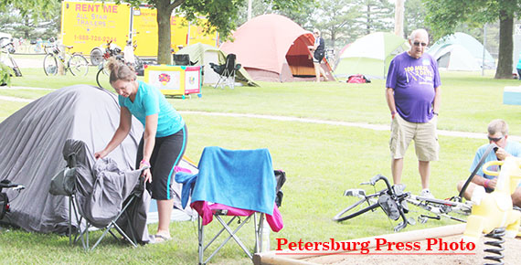 Bike riders made camp in the Petersburg Park.