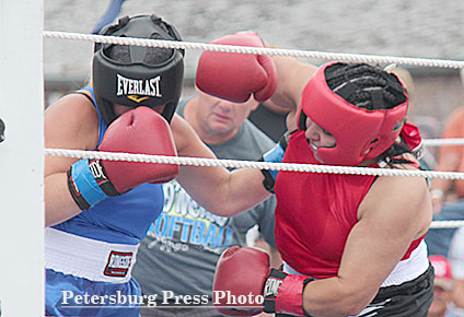 Two female boxers slugged it out in the ring.