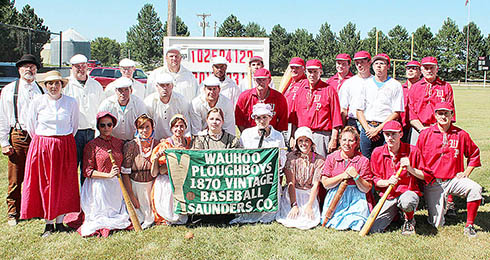 Tthe Petersburg and Wauhoo teams pose for a photo after their old time baseball game last Sunday.