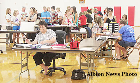 Students line up during Boone Central registration on Tuesday afternoon, Aug. 2.